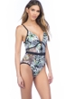 Kenneth Cole Palm Reading Mesh Push Up One Piece Swimsuit
