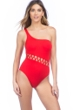 Kenneth Cole Flame Sexy Solid Cut Out One Shoulder One Piece Swimsuit