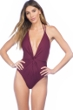 Kenneth Cole Burgundy Sexy Solid Plunge Twist Tie Back One Piece Swimsuit