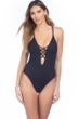 Kenneth Cole Black Sexy Solid Lace Up High Leg Cross Back One Piece Swimsuit
