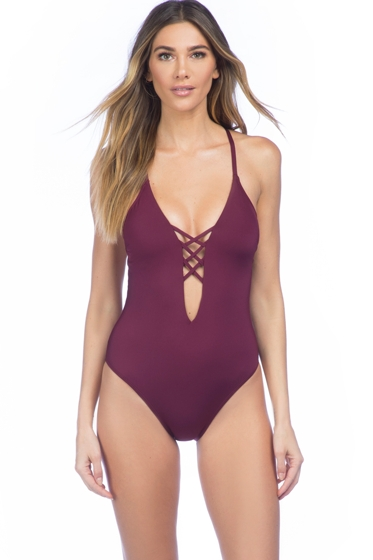 Kenneth Cole Burgundy Sexy Solid Lace Up High Leg Cross Back One Piece Swimsuit