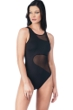 Kenneth Cole New York All Meshed Up Black Mesh High Neck One Piece Swimsuit