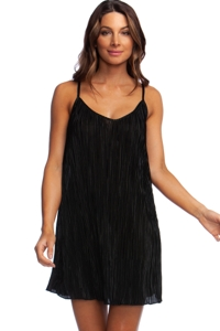 Kenneth Cole New York Pleated Perfection Black Beach Dress