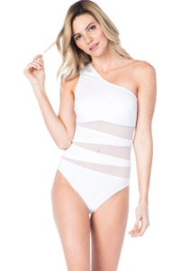 Kenneth Cole New York White One Shoulder Mesh One Piece Swimsuit
