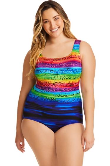 Longitude Plus Size Sweet Sunset Double X-Back One Piece Swimsuit