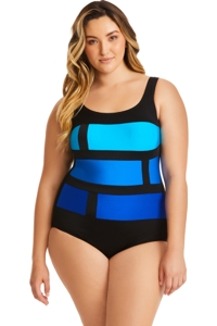 Longitude Plus Size Color Block Blue Stained Glass One Piece Swimsuit