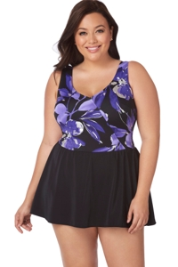 Longitude Cala Luna Plus Size Mock Surplice Swimdress