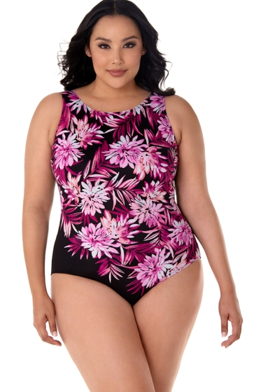 Robby Len by Longitude Mumcascade Plus Size Scoopback High Neck One Piece Swimsuit