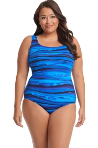 Robby Len by Longitude Oasis Plus Size Lattice Back One Piece Swimsuit