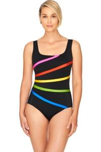 Robby Len by Longitude Color Block Long Torso Banded Fan One Piece Swimsuit