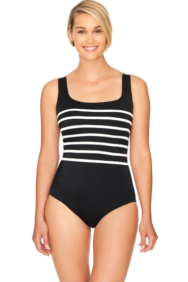 Robby Len by Longitude Black and White Long Torso Linear Scoop Neck One Piece Swimsuit