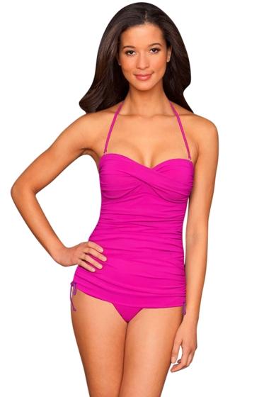 La Blanca Raspberry Twist Front Bandeau Side Adjustable One Piece Swimsuit