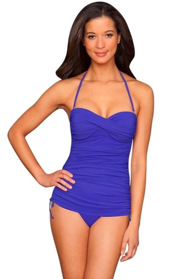 La Blanca Cobalt Twist Front Bandeau Side Adjustable One Piece Swimsuit