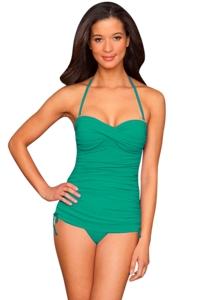 La Blanca Lagoon Twist Front Bandeau Side Adjustable One Piece Swimsuit