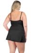 La Blanca Solid Black Plus Size Twist Front Sweetheart Swimdress