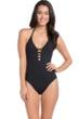 La Blanca Black Island Goddess Keyhole Halter One Piece Swimsuit