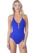 La Blanca Sapphire Island Goddess Keyhole Halter One Piece Swimsuit