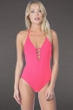 La Blanca Watermelon Island Goddess Keyhole Halter One Piece Swimsuit