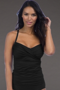La Blanca Black Island Goddess Convertible Tankini Top