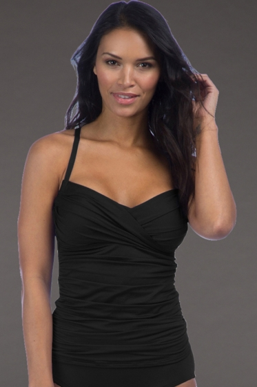 La Blanca Black Island Goddess Convertible Tankini Top
