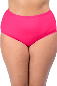 La Blanca Solid Watermelon Pink Plus Size Hi-Rise Swim Bottom