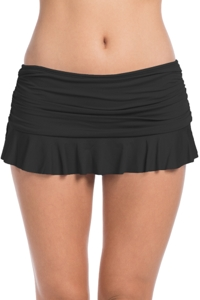 La Blanca Black Island Goddess Ruffle Skirted Hipster Tankini Bottom