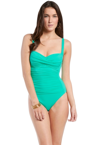 La Blanca Mint Twist Front One Piece Swimsuit