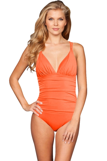 La Blanca Hot Coral Cross Back One Piece Swimsuit