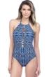 La Blanca Designer Jeans High Neck Plunge Halter One Piece Swimsuit