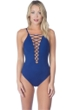 La Blanca Midnight Lace Up High Neck One Piece Swimsuit