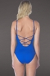 La Blanca Sapphire Island Goddess Lace Up High Neck One Piece Swimsuit