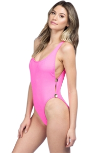 La Blanca Bubble Gum 2-Button High Leg One Piece Swimsuit