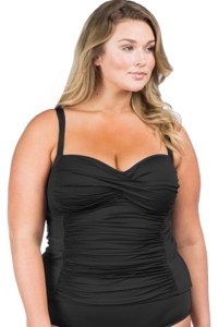La Blanca Plus Size Solid Black Twist Front Sweetheart Tankini Top