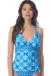 La Blanca True Blue Goddess Halter Twist Back Tankini Top