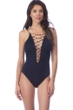 La Blanca Wild Safari Lace Up High Neck One Piece Swimsuit