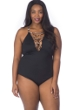 La Blanca Wild Safari Plus Size High Neck Lace Up One Piece Swimsuit