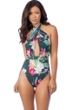 La Blanca Beyond the Jungle Wrap Front Halter Plunge One Piece Swimsuit