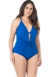 La Blanca Apollo Blue Island Goddess Plus Size Twist Front Lingerie One Piece Swimsuit