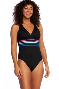 La Blanca Spectrum Black Cross Back One Piece Swimsuit