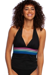 La Blanca Spectrum Black V-Neck Halter Tankini Top