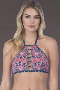 Lucky Brand Reversible Festival Medallion High Neck Bikini Top