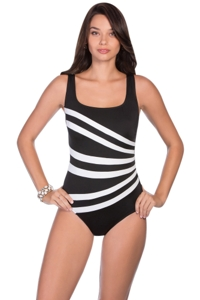 Longitude Colorblock Banded Fan One Piece Swimsuit