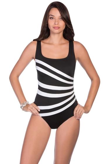 Longitude Colorblock Banded Fan One Piece Swimsuit