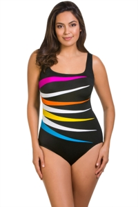 Longitude Multi Colorblock Fan One Piece Swimsuit