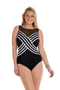 Longitude White Colorblock Mesh High Neck One Piece Swimsuit