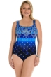 Longitude Gilded Age Silver Foil X-Back One Piece Swimsuit