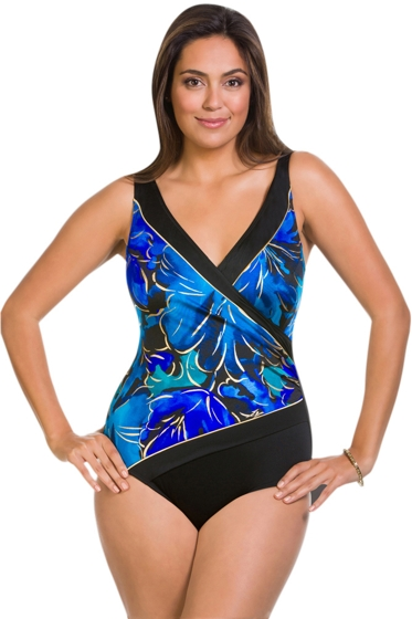 Longitude Floral Flutter Gold Foil Surplice One Piece Swimsuit