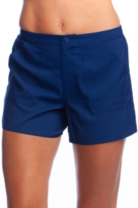 Maxine of Hollywood Navy Woven Board Short Swim Bottom