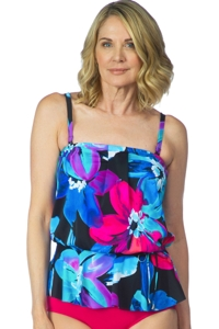 Maxine of Hollywood Flourish Peplum Tankini Top