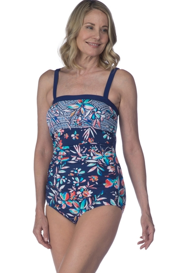 Maxine of Hollywood Tropical Trip Side Shirred Bandeau One Piece Swimsuit